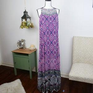 Express Maxi Dress High Neck Ikat Print Large